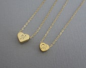 Initial Necklace Set. Matching Mother and Daughter Necklace Set. Gold Heart Charm. Custom Initial Jewelry Set for Mother & Daughter