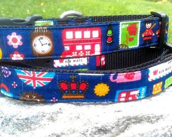London Calling 1 Inch Width Dog Collar