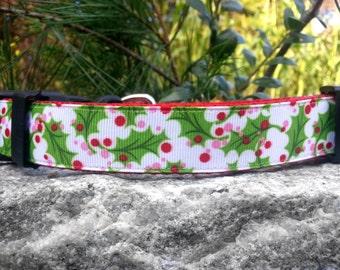 Christmas Holly 1 Inch Width Dog Collar