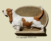 Hand painted tan and white bicolor Basset Hound dog wall sculpture statue fine art relief