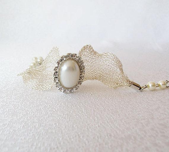 Weddings, Rhinestone, Pearl  Bracelet, Wedding Jewelry, Titanium Ribbons