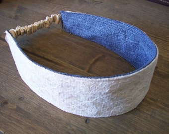Denim & Lace Adult Reversible Headband