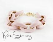 Pink Enamel Link Bracelet - Chunky Link Bracelet - Enamel Bracelet - Pink Bracelet