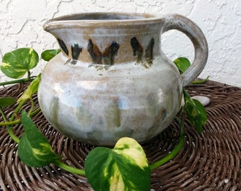 pitcher planter vase terra clay milk drip glaze pottery butterflies moth garden handmade rustic shabby cottage home brown tan gothic decor