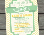 BBQ Joint Baby Shower, Light Yellow, Green, Co-ed, Barbeque Baby Shower, DIY, Chevron, Retro, Typography - Digital Print File