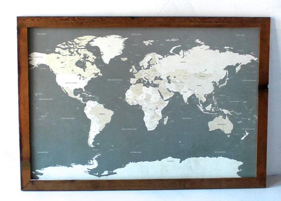 World Map I Push Pin Travel Map with Wood Frame 24x36 by Wayfaren – Push Pin Travel Maps