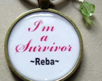 "Custom Swarovski ""I'm a Survivor"" Silver Plated Key Chain with Lyrics inspired by Reba"
