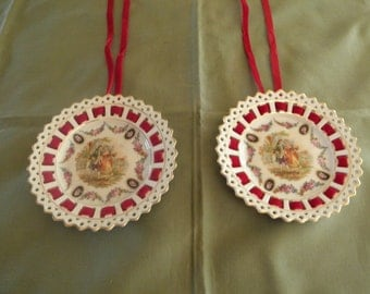 Colonial Couple China Hanging Plates - German