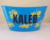 Personalized Basket, Sand Bucket, Plastic Oval Easter Tub with Construction Vehicles
