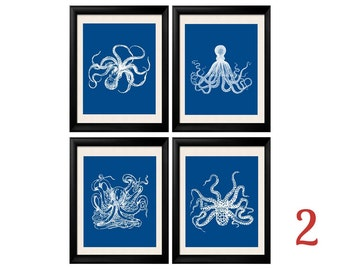 Octopus Print, Bodner Octopus, Blue Octopus, Octopus Wall Art, Set of Four Prints, Marine Sealife Illustrations, Vintage Bodner, Blue White