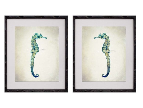 seahorse wall art seahorse print set seahorse prints. Black Bedroom Furniture Sets. Home Design Ideas