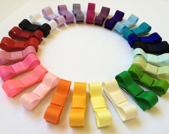 Baby Hair Bow - 10 Pack Newborn Mini Bow Hair Clips - Choose from 37 Colors - 1.5 Inch Non Slip Snap Clip