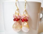 Pearl Earrings, Cluster Earrings, Gold Earrings, Red Earrings, Pink Earrings, Ombre Earrings, Large Pearls, Long Earrings, Drop Earrings
