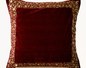 Velvet Throw Pillows -Maroon Velvet cushion with gold sequin boarder -sequin bead pillow -16X16 -Dark red pillow - gift pillow- Couch pillow