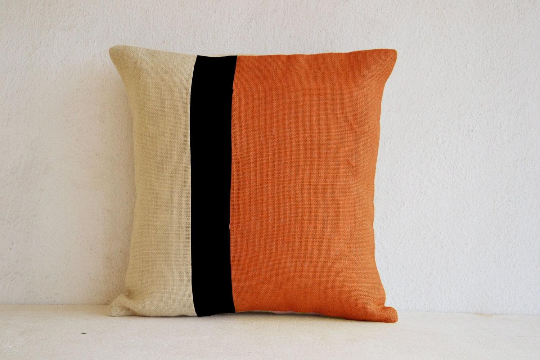 Orange Pillows Burlap color block Orange Decorative by AmoreBeaute