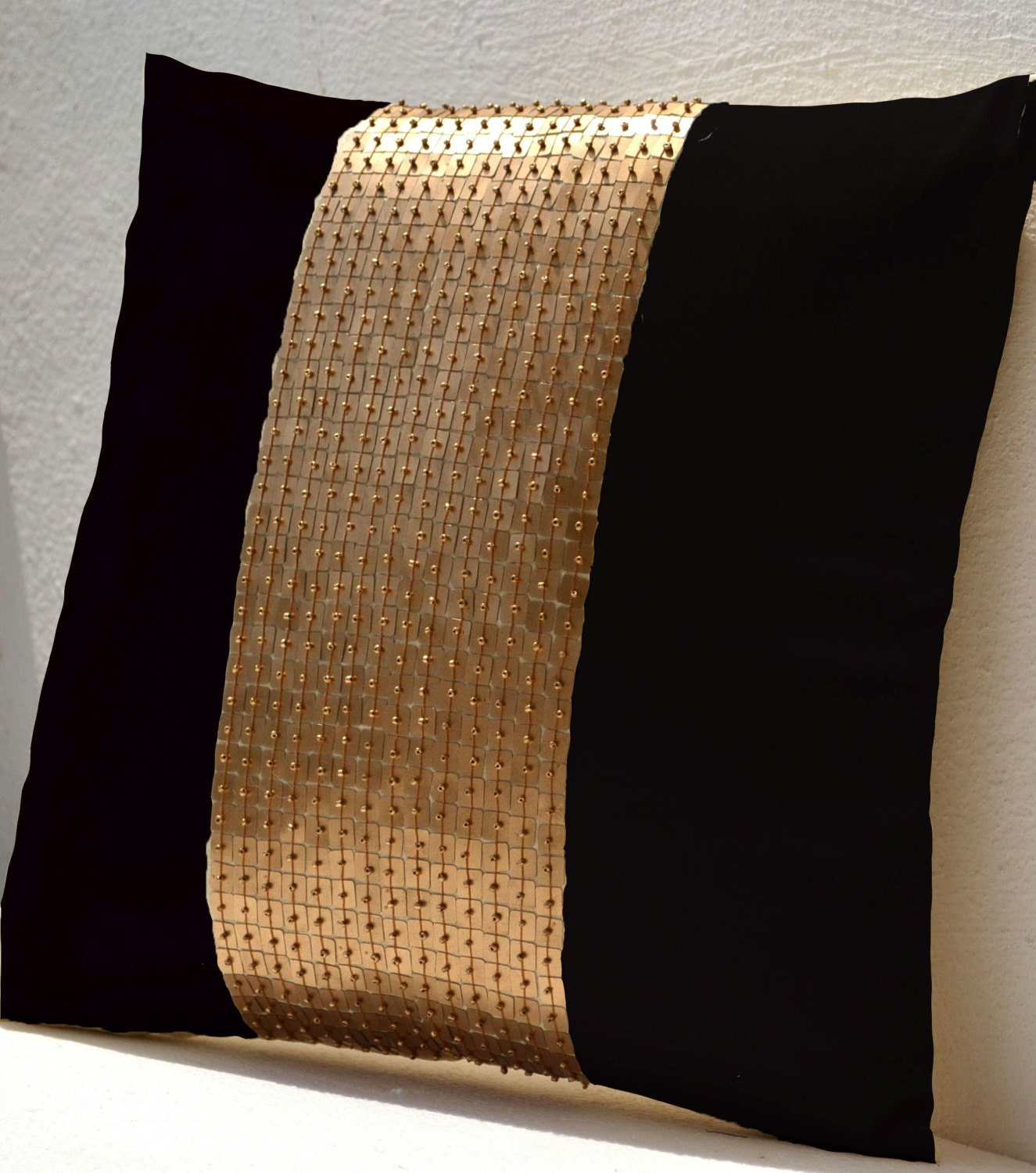 throw pillow covers black gold color block in silk and sequin bead detail cushion sequin. Black Bedroom Furniture Sets. Home Design Ideas