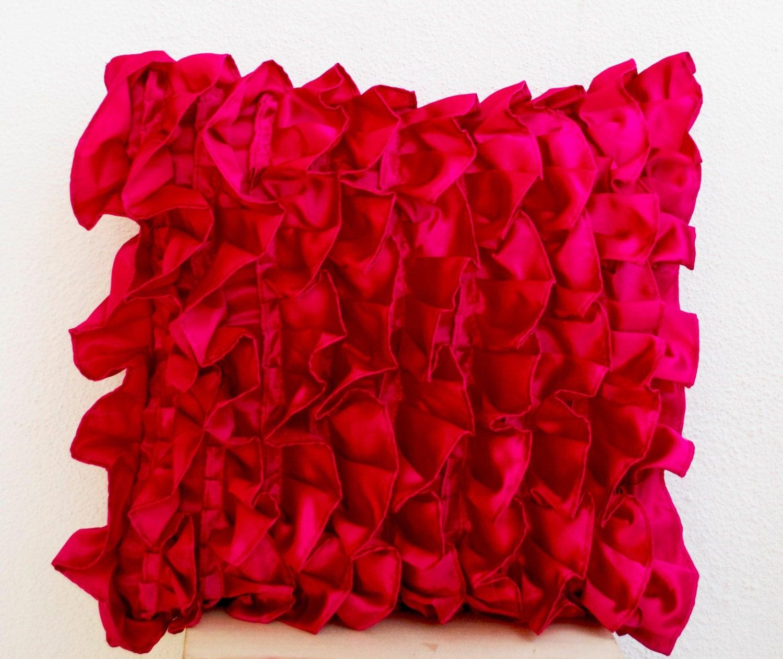 FREE SHIPPING pink ruffle pillow hot pink cushion hot pink