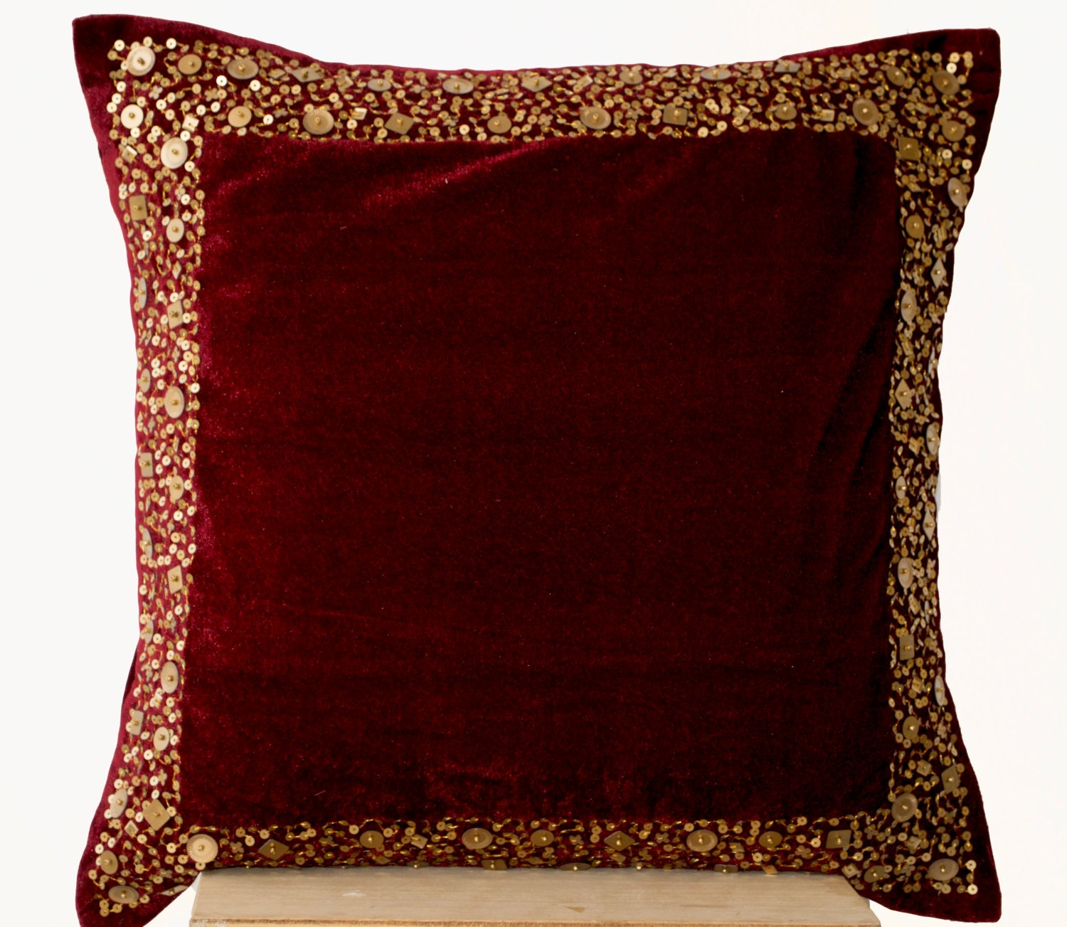 Throw Pillows Velvet : Velvet Throw Pillow Maroon Velvet cushion with gold sequin