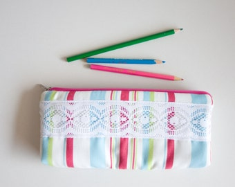 Pencil Case, Colorful Striped Zipper Pen Pouch, Small Cosmetic Bag, School Supplies Small Cotton Case, Pink, Green, Blue