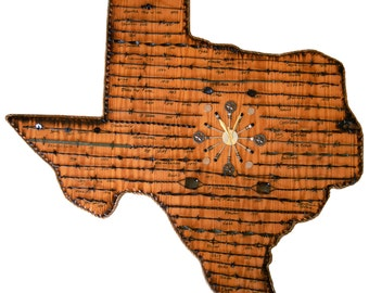 Texas State Plaque with Antique Barbed Wire - Extra Large