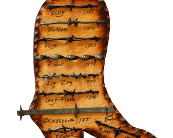 Wooden Cowboy Boot  with Antique Barbed Wire