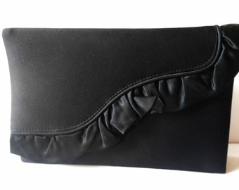 Black Evening Bag, Vintage Black Bag, Clutch Handbag, Elegant Black Bag, Lord & Taylor, Glamorous Purse,  EB-0134