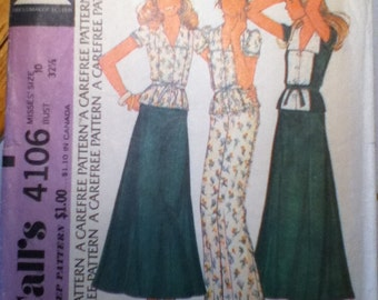 "McCall's Vintage Skirt, Top & Pants Pattern 4106 Size: 10, Bust 32"", Waist 25"", Hip 34""."