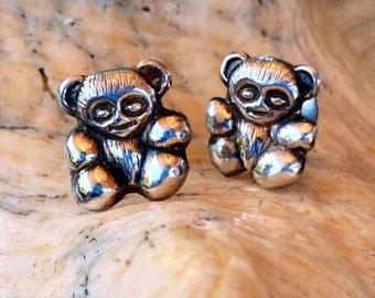 Sterling Silver Teddy Bear Earrings (st - 621)