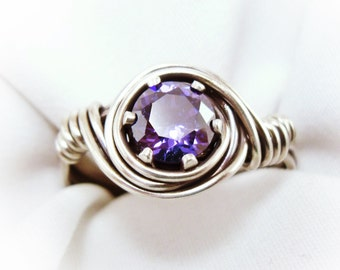 Wire Wrapped Ring / Birthstone Ring / Solitaire Ring / Antiqued Sterling Silver with Cubic Zirconia Gemstone
