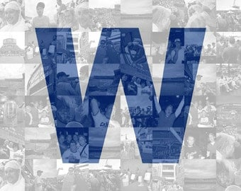 Custom Chicago Cubs Win Flag - Wrigley Field White Flag - Gift for Cubbies Baseball Fan - Photo Collage Mosaic Print - Baseball Art