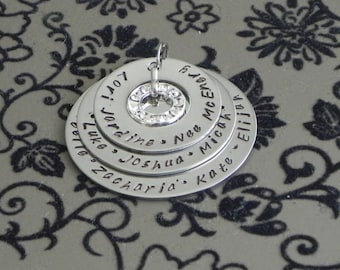 Personalised Handstamped Family Pendant Any Names or Any Wording with Swarovski Circle Pendant 3 Stack