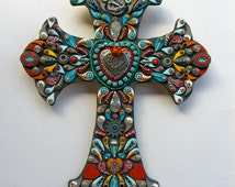 Vintage Mexican South Western Cross with Sacred Heart Decorative Wall Cross OOAK  Victorian fleur de lis by iluvPiC
