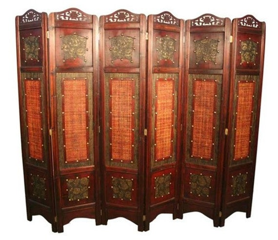 Ft tall vintage wooden decorative oriental folding screen in