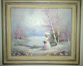 Vintage oil painting of lady by a lake