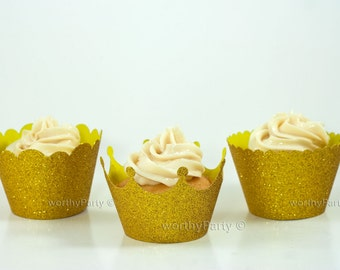 GOLD GLITTER Sparkling Cupcake / Muffin Wrappers - Crown, Scalloped, Mini Scalloped - 3 Assorted designs (set of 12)