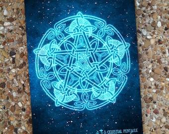 Celtic Moon Pentacle Blank Book Journal