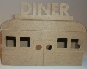 Little Village Cardboard Christmas Putz Houses- Diner