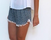 Pom Pom Shorts - Navy and White Daisy Print with Large White Pom Pom's