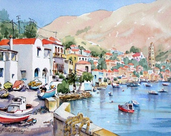 "Original watercolour painting ""Colours of Halki, Greek Isles"""