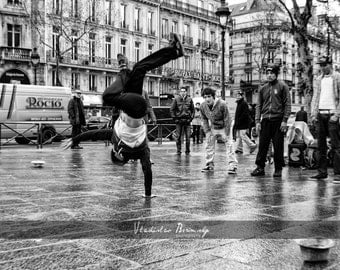 Black & White street photography of break dancers in Paris, France  - 8x10 photograph