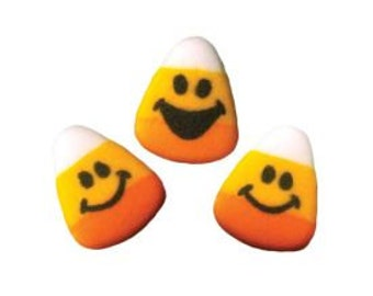 Candy Edible Sugar Dec Ons-These adorable Candy Corn Faces are irresistible on your Halloween and Fall Baked Treats.