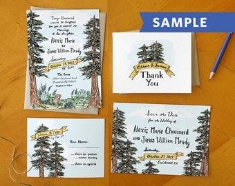Garden Gathering: Painted Wedding Invitation Suite Printed Sample