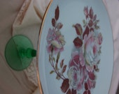 Hand painted Floral Cupcake Tray with green stand