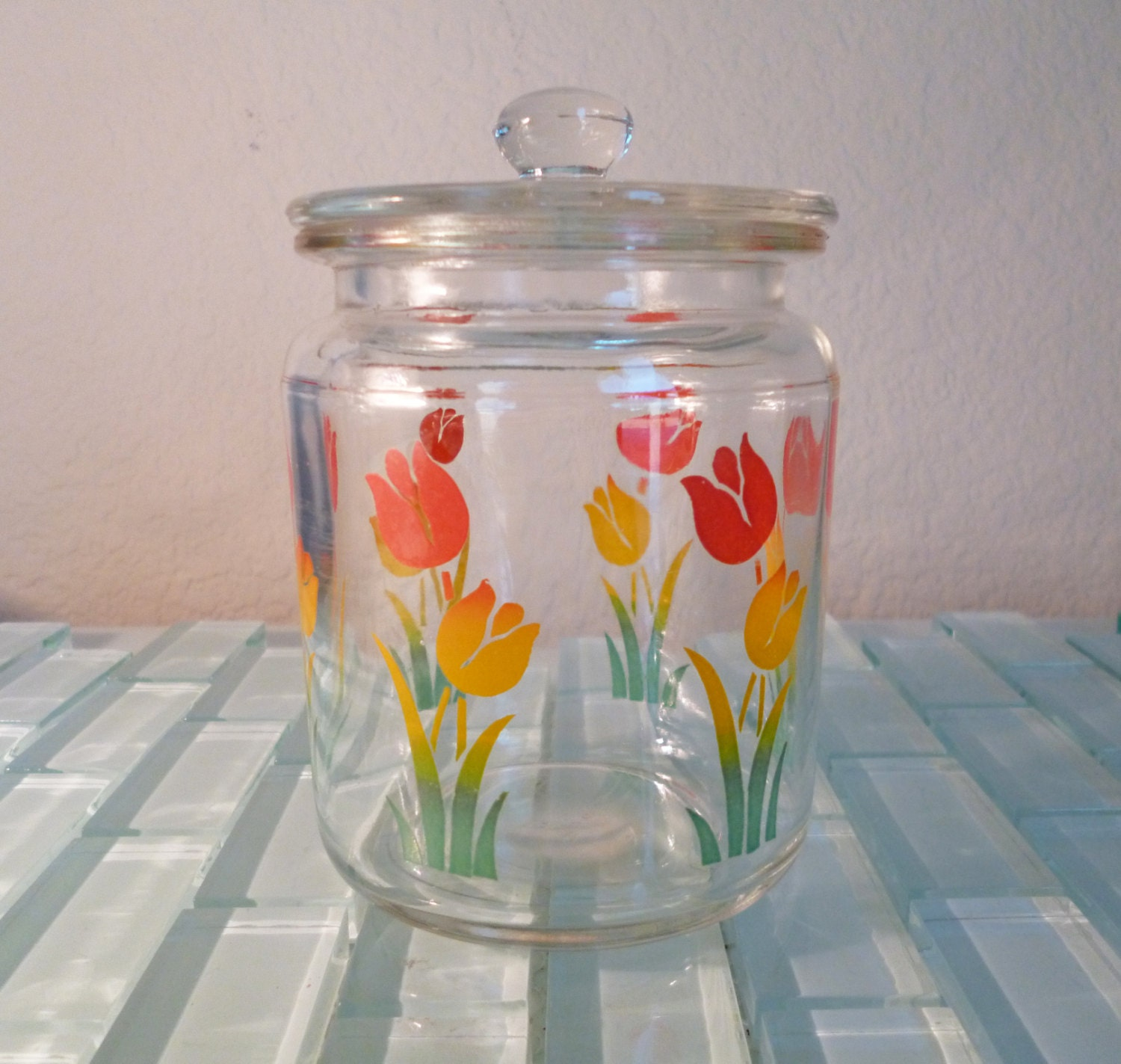 Vintage Glass Canister Lid Box Flowers Clear Tulips Small