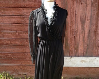 Elegant 1980's ruffled v-neck dress