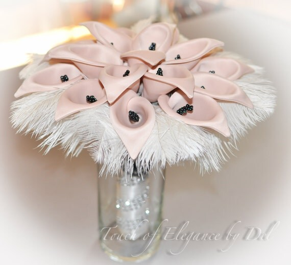 """11"""" 'Forget-Me-Not' Calla Lily Bridal Bouquet - Calla Lily, Ostrich Feathers and Bling + FREE Groom Boutonniere"""