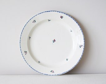 Antique porcelain plate, Nimy porcelain plate, hand painted delicate flower buds and royal blue rim, off-white, Belgium, 28.5 cm / 11.2 in