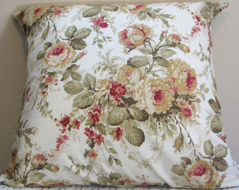 "Single Pillow Cover 22""x22"" Sage Green, Taupe, Cranberry, Creams"
