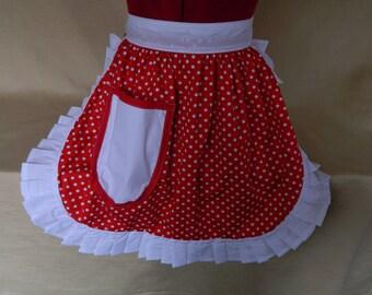 Retro Vintage 50s Style Half Apron / Pinny - Red & White Polka Dot with White Trim