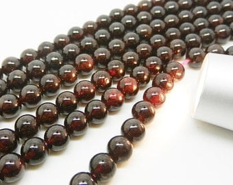 """15.5""""  Natural Garnet  Round  Bead , Garnet  Gemstone --6mm"""